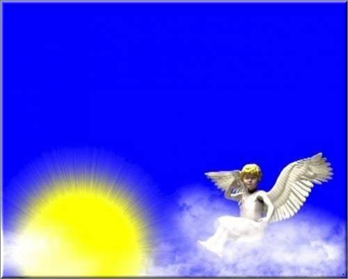 футаж - Ангел на облаках хромакей