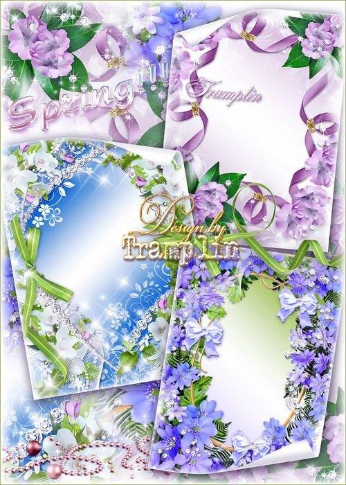Коллекция весенних рамок с цветами, бантами и зеленью