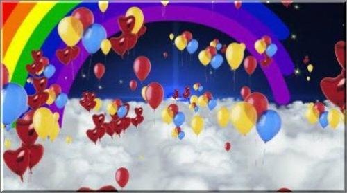 Праздничный футаж с воздушными шарами и радугой
