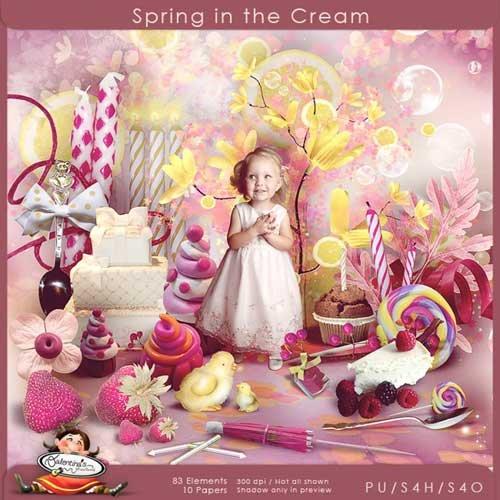 Весенний скрап-набор - Кремовая весна