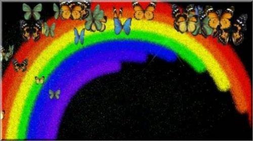 Футаж Феерверк из радуги и бабочек