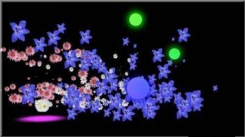 футаж - Превращение светящихся и падающих шариков в рассыпающуюся цветочную поляну