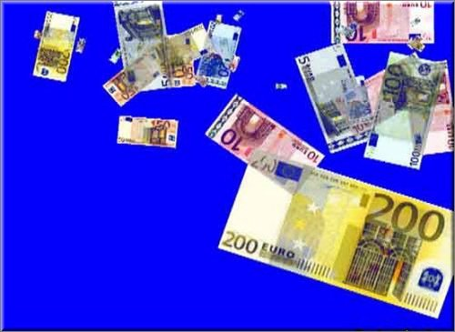 футаж - Падающие Евро на хромакее