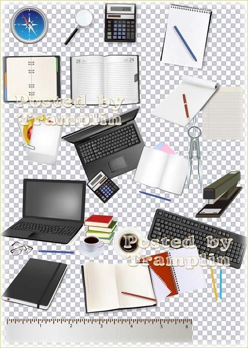 Клипарт для учеников школьный – Блокноты, карандаши, линейки, компьютеры