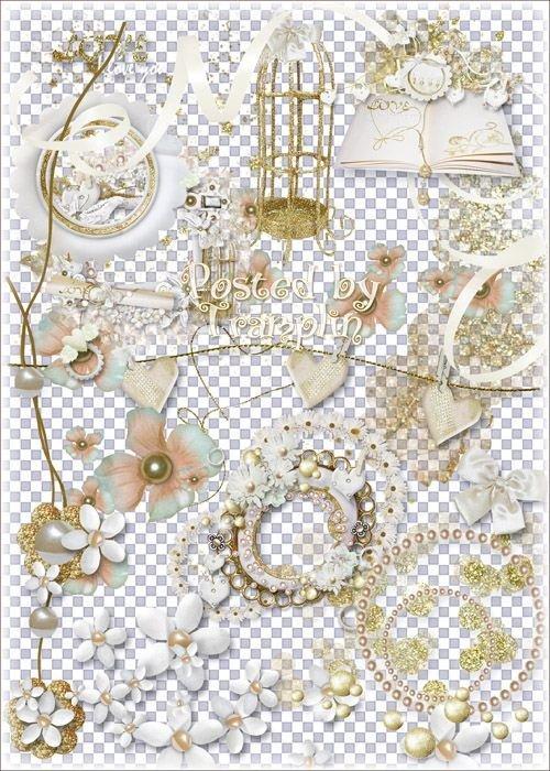 Свадебный клипарт – Цветы, банты, завязки, рамки-вырезы, бабочки, жемчуг, надписи