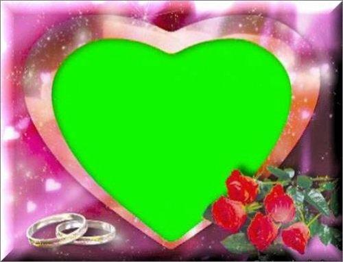 футаж - Рамка сердце с кольцами
