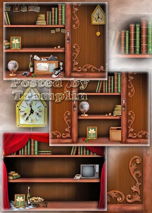 Исходники книжных полок -  На полках рамочка для фото, книжки и глобус