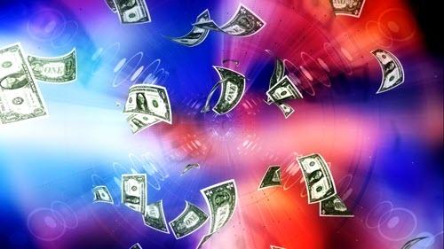 видео футаж-летящие доллары